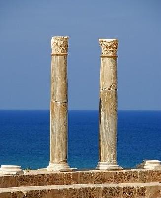 Two pillars with corinthian capital Roman theatre Leptis Magna Libya
